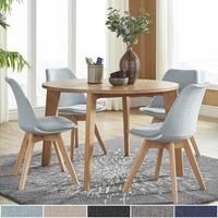 Arlo Round Light Oak 5-Piece Dining Set by iNSPIRE Q Modern