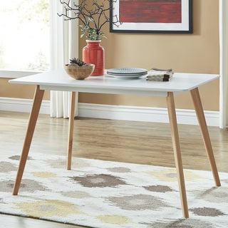 Arlo Two-Tone White and Oak Dining Table by iNSPIRE Q Modern
