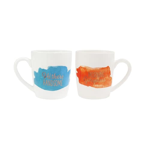 "His/Her Set of 2 Mugs 15oz ""Gorgeous Handsome"""