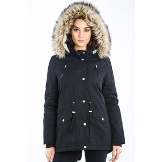 Ladies Faux Fur Detachable Hood Parka Jacket By Special One