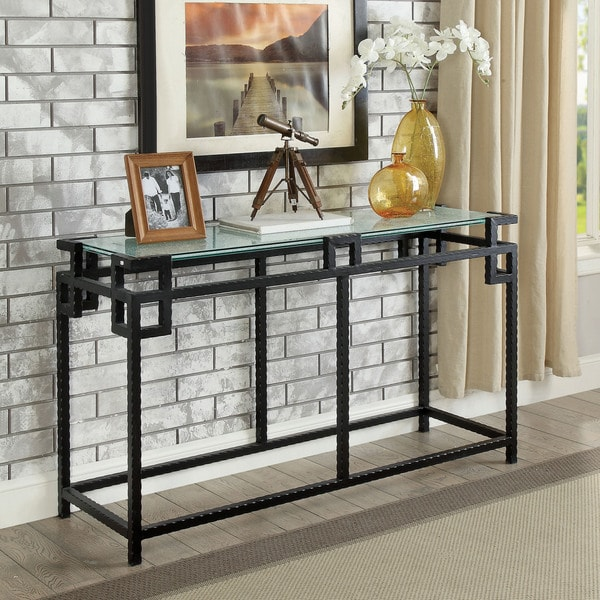 Ichi Contemporary Black Open Gl Top Sofa Table By Foa On Free Shipping Today 19569607