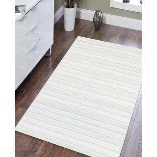 Dawson Handmade Modern White Wool Rug - 4' x 6'