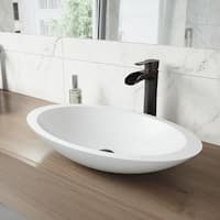VIGO Wisteria Matte Stone Vessel Bathroom Sink and Niko Faucet Set