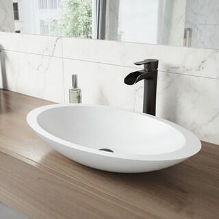 VIGO Wisteria Matte Stone Vessel Bathroom Sink Set With Niko Antique Rubbed Bronze Vessel Faucet
