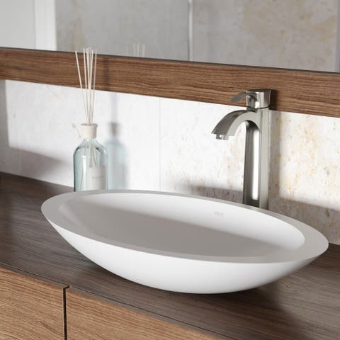 VIGO Wisteria Matte Stone Vessel Bathroom Sink and Otis Faucet Set