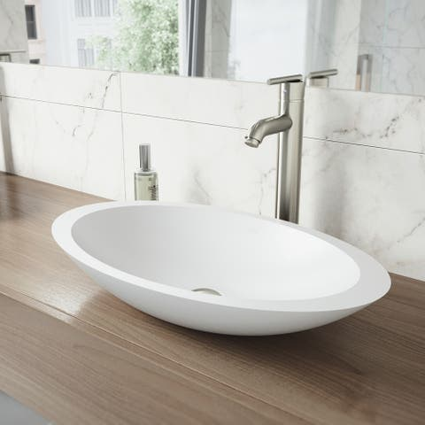 VIGO Wisteria Matte Stone Vessel Bathroom Sink and Seville Faucet Set