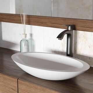 VIGO Wisteria Matte Stone Vessel Bathroom Sink Set With Linus Antique Rubbed Bronze Vessel Faucet