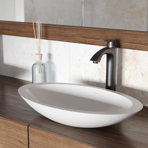 VIGO Wisteria Matte Stone Vessel Bathroom Sink and Linus Faucet Set