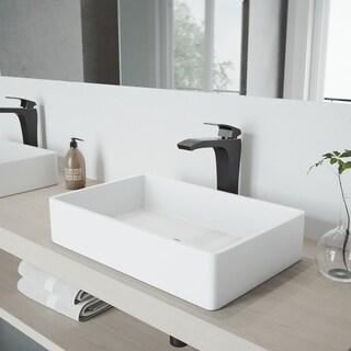 VIGO Magnolia Matte Stone Vessel Bathroom Sink Set With Blackstonian Antique Rubbed Bronze Vessel Faucet
