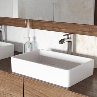 VIGO Magnolia Matte Stone Vessel Bathroom Sink and Niko Faucet Set
