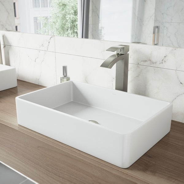 VIGO Magnolia Matte Stone Vessel Bathroom Sink and Duris Faucet Set