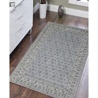 Statebridge Collection Water Blue New Zealand Wool/Art Silk Hand-tufted Area Rug (7'6 x 9'6)