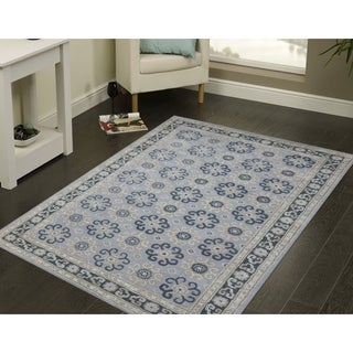 Hand-Tufted Sky Blue New Zealand Wool and Silk Rug (8' x 11') - 8' x 11'