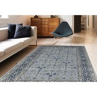 Blue New Zealand Wool and Art Silk Hand-tufted Rug - 8' x 11'