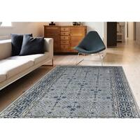 Blue New Zealand Wool and Art Silk Hand-tufted Rug (5' x 8')