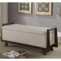 Furniture of America Kito Mid-Century Modern Style Padded Fabric Storage Bench