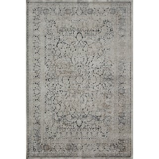 Cambridge Distressed Vintage Medallion Tan Navy Area Rug