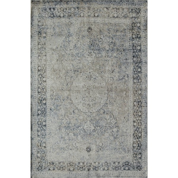 Cambridge Distressed Vintage Medallion Tan Blue Area Rug