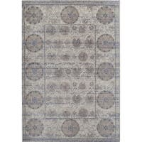 """Beverly Vintage Distressed Medallion Gray Ivory Area Rug - 7'10"""" x 9'10"""""""