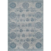 """Beverly Distressed Traditional Medallion Blue Area Rug - 7'10"""" x 9'10"""""""