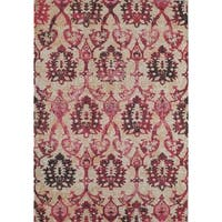 "Beverly Distressed Modern Medallion Ivory Fuchsia Area Rug - 7'10"" x 9'10"""