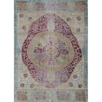 Asteria Distressed Vintage Bohemian Ruby Red Area Rug - 8' x 10'