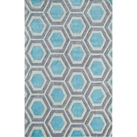 Jourdan Modern Geometric Crescent Blue Area Rug - 8' x 10'