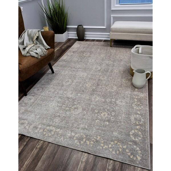 Wilshire Distressed Vintage Oriental Gray Area Rug 8 X27