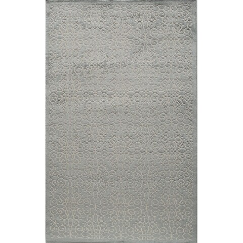 Riviera Traditional Scroll Light Blue Area Rug - 8' x 10'