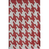 Rugs America Jourdan Houndstooth Red Acrylic Rug - 8' x 10'