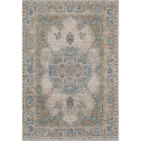 """Beverly Ivory Blue Vintage Distressed Bohemian Area Rug - 7'10"""" x 9'10"""""""