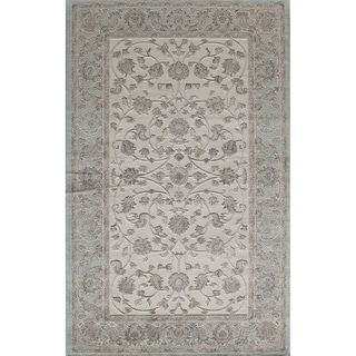 Riviera Traditional Oriental Ivory Blue Area Rug - 8' x 10'