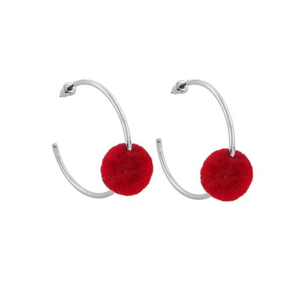 8fe9fdc8e1c3bc Shop Eternally Haute Pom Poms Hoop Earrings - Red - Free Shipping On ...