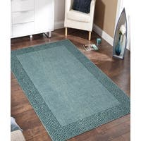 Klein Turquoise Blended New Zealand Wool Hand-tufted Area Rug (5' x 8')