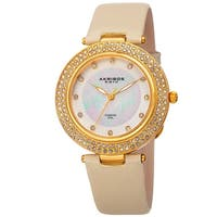 Akribos XXIV Women's Dazzling Diamond Crystal Gold-Tone Leather Strap Watch