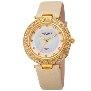 Akribos XXIV Women's Dazzling Diamond Crystal Gold-Tone Leather Strap Watch