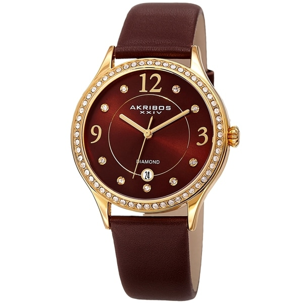 Akribos XXIV Women's Diamond Swarovski Crystal Date Brown Leather Strap Watch. Opens flyout.