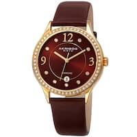 Akribos XXIV Women's Diamond Swarovski Crystal Date Brown Leather Strap Watch