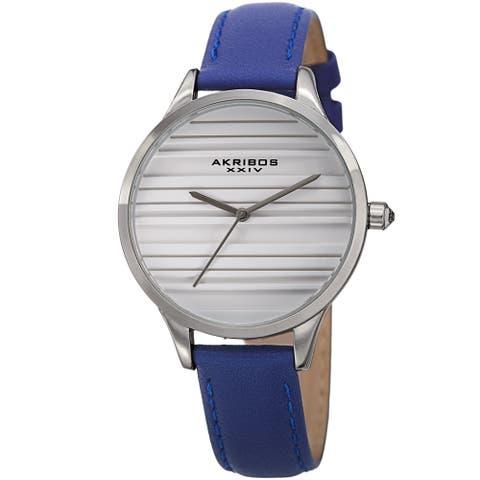 Akribos XXIV Women's Quartz Striate Simple Chic Blue Leather Strap Watch