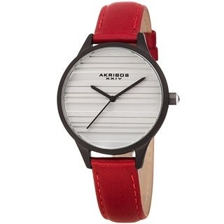 Akribos XXIV Women's Quartz Striate Simple Chic Red Leather Strap Watch