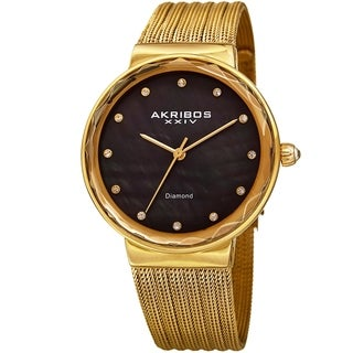 Akribos XXIV Women's Diamond Angled Gold-Tone Black Mesh Bracelet Watch