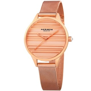 Akribos XXIV Women's Quartz Striate Simple Chic Rose-Tone Mesh Strap Watch