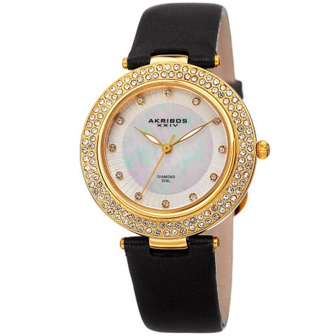 Akribos XXIV Women's Dazzling Diamond Crystal Black Leather Strap Watch