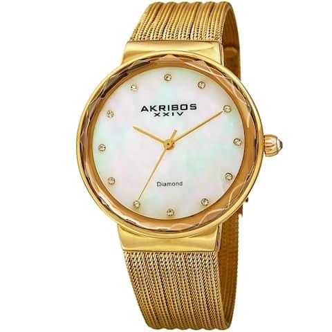 Akribos XXIV Women's Diamond Angled Gold-Tone Mesh Bracelet Watch