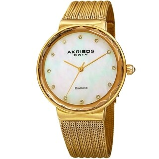 Akribos XXIV Women's Diamond Angled Gold-Tone Mesh Bracelet Watch