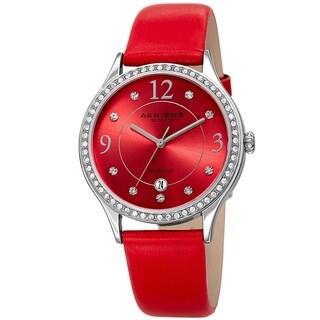 Akribos XXIV Women's Diamond Swarovski Crystal Red Leather Strap Watch