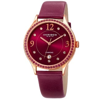 Akribos XXIV Women's Diamond Swarovski Crystal Purple Leather Strap Watch