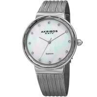 Akribos XXIV Women's Diamond Angled Silver-Tone Mesh Bracelet Watch