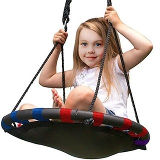 Sorbus Spinner Swing - Kids Indoor/Outdoor Round Mat Swing