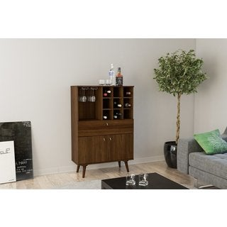 Boahaus Elegant Bar Cabinet, Dark Brown, Wine Storage, One drawer, one large closed compartment